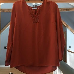 Maroon Blouse with lace detail